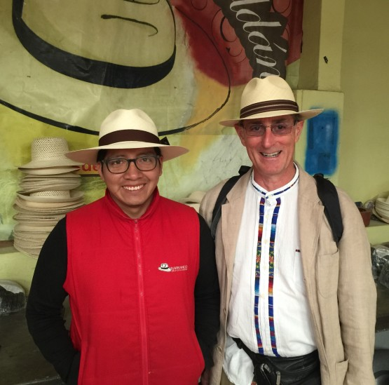 Efrain, my Panama hat salesman, and me. Photo by Lenny Charnoff.